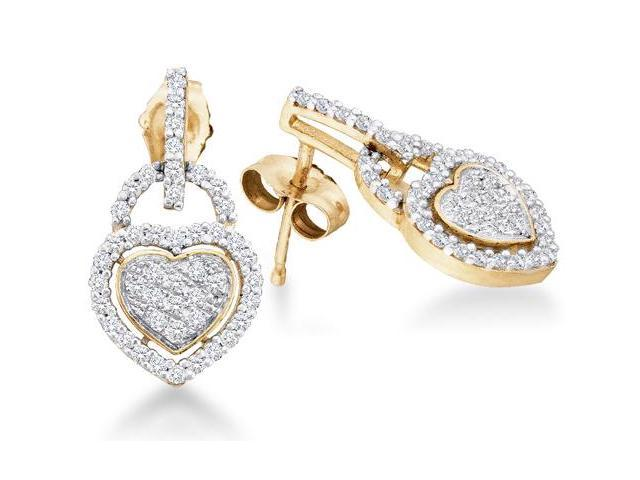10K Yellow and White Two Tone Gold Channel Pave Set Round Diamond Heart Dangle Earrings with Push Back Closure - (1/3 cttw, G - H Color, SI2 Clarity)