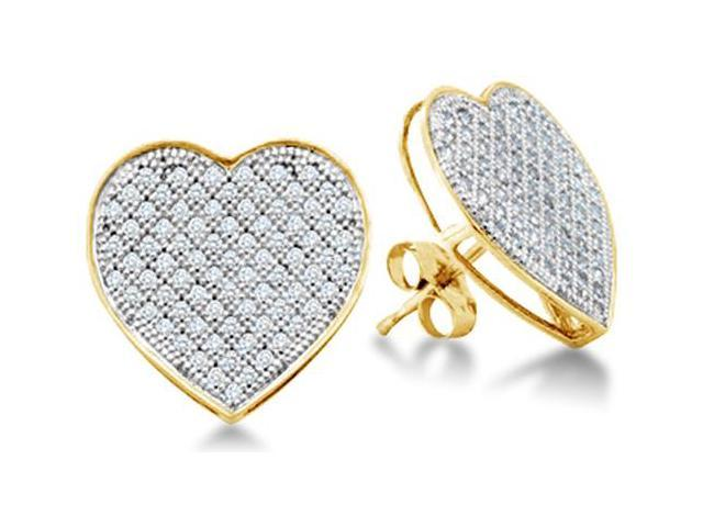 10K Yellow and White Two Tone Gold Micro Pave Set Round Diamond Heart Stud Earrings with Push Back Closure - (1/20 cttw, G - H Color, SI2 Clarity)