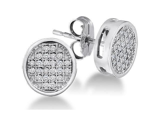 10K White Gold Micro Pave Set Round Diamond Round Circle Stud Earrings with Push Back Closure - (1/20 cttw, G - H Color, SI2 Clarity)