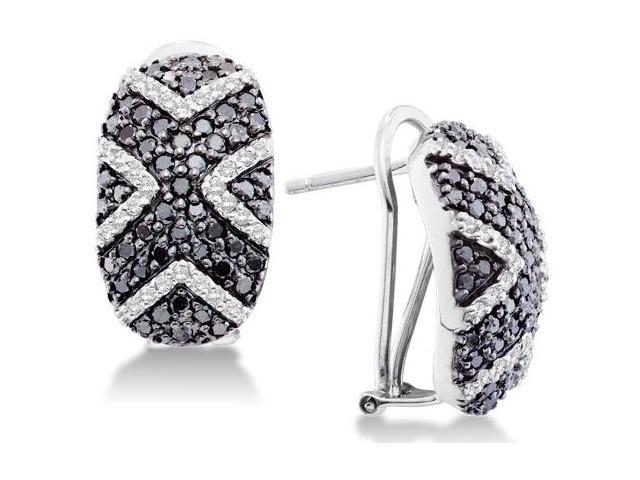 14K White Gold Large Micro Pave Set Round White and Black Diamond Oval Shape Hoop Earrings  - (1.75 cttw, G - H Color, SI2 Clarity)