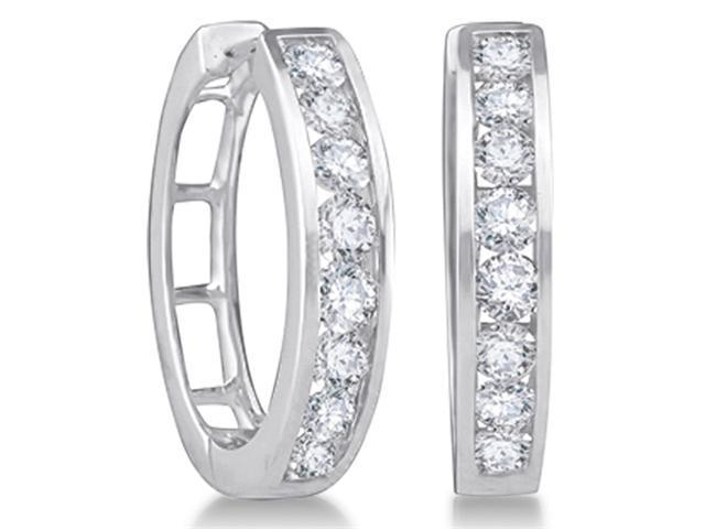 14K White Gold Large Channel Invisible Set Round Diamond Classic Round Hoop Earrings  - (1.00 cttw, G - H Color, SI2 Clarity)