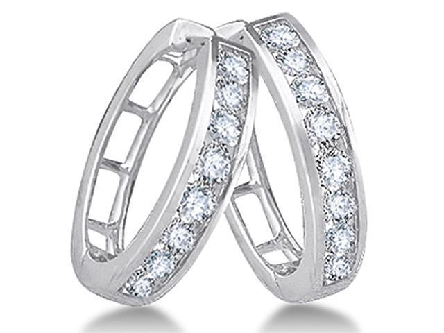 14K White Gold Channel Invisible Set Round Diamond Classic Round Hoop Earrings  - (1/2 cttw, G - H Color, SI2 Clarity)