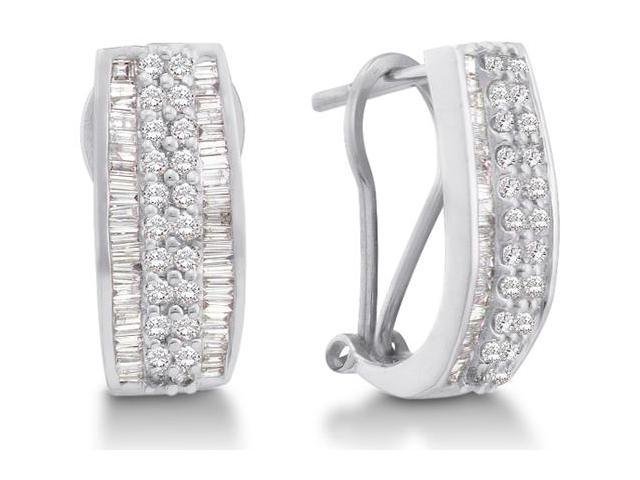 14K White Gold Channel Invisible Set Round Diamond U Shape Hoop Earrings  - (.85 cttw, G - H Color, SI2 Clarity)