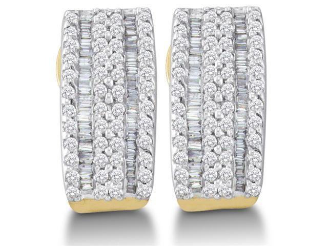 14K Yellow and White Two Tone Gold Channel Invisible Set Round Diamond U Shape Hoop Earrings  - (.93 cttw, G - H Color, SI2 Clarity)