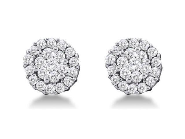 14K White Gold Channel Invisible Set Round Diamond Flower Stud Earrings  - (3/4 cttw, G - H Color, SI2 Clarity)