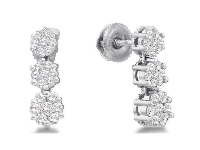 14K White Gold Channel Invisible Set Round Diamond 3 Three Stone Style Shape Flowers Dangle Earrings with Screw Back Closure - (3/4 cttw, G - H Color, SI2 Clarity)