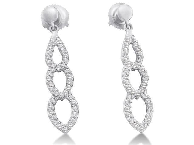 14K White Gold Micro Pave Set Round Diamond Pear Shape Dangle Earrings with Screw Back Closure - (2/5 cttw, G - H Color, SI2 Clarity)