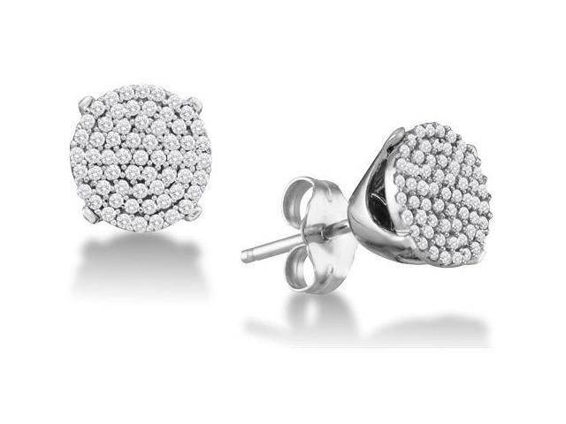 10K White Gold Micro Pave Set Round Diamond Flower Stud Earrings with Push Back Closure - (1/3 cttw, G - H Color, SI2 Clarity)