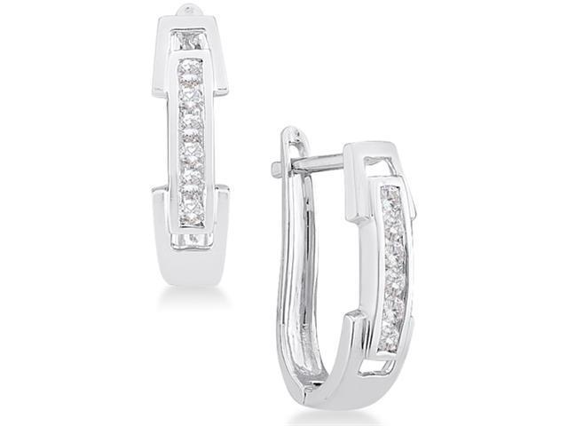 14K White Gold Channel Invisible Set Round Diamond U Shape Hoop Earrings  - (1/5 cttw, G - H Color, SI2 Clarity)