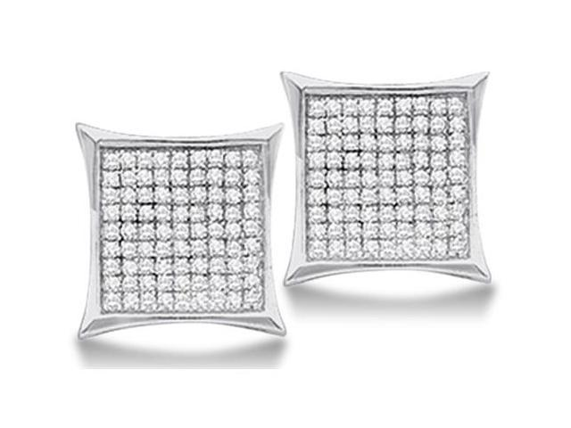 .925 Sterling Silver Plated in White Gold Rhodium Micro Pave Set Round Diamond Square Shape Stud Earrings  - (1/20 cttw, G - H Color, SI2 Clarity)
