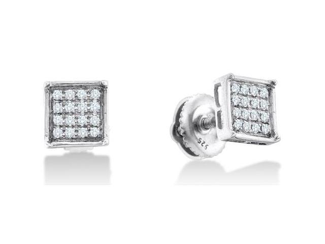 .925 Sterling Silver Plated in White Gold Rhodium Micro Pave Set Round Diamond Square Shape Setting Stud Earrings with Screw Back Closure - (1/20 cttw, G - H Color, SI2 Clarity)