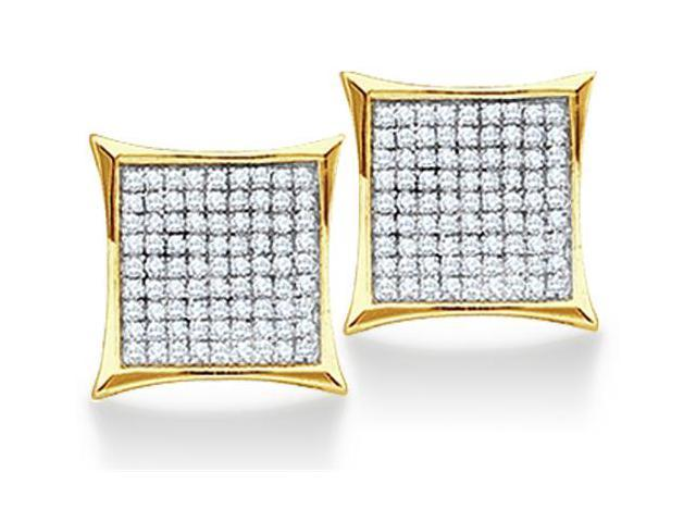 10K Yellow and White Two Tone Gold Micro Pave Set Round Diamond Square Shape Setting Stud Earrings  - (1/20 cttw, G - H Color, SI2 Clarity)