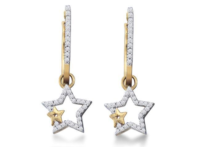 10K Yellow and White Two Tone Gold Channel Set Round Diamond Stars Dangle Earrings  - (1/4 cttw, G - H Color, SI2 Clarity)