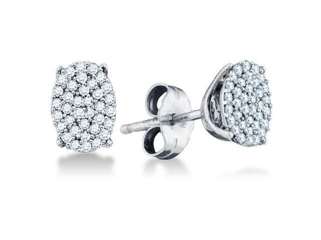 .925 Sterling Silver Plated in White Gold Rhodium Yellow and White Two Tone Gold Micro Pave Set Round Diamond Oval Shape Stud Earrings with Push Back Closure - (1/5 cttw, G - H Color, SI2 Clarity)