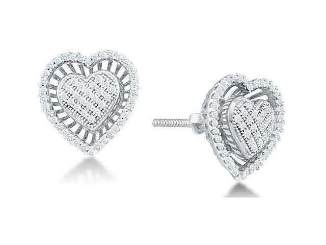 10k White Gold Micro Pave & Channel Set Round Diamond Heart Stud Earrings with Screw Back Closure - (.30 cttw, G - H Color, SI2 Clarity)