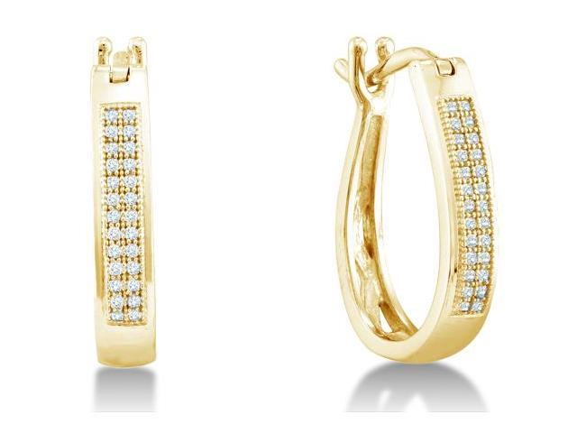 .925 Sterling Silver Plated in Yellow Gold Micro Pave Set Round Diamond U Shape Hoop Earrings with Hinge Closure - (.15 cttw, G - H Color, SI2 Clarity)