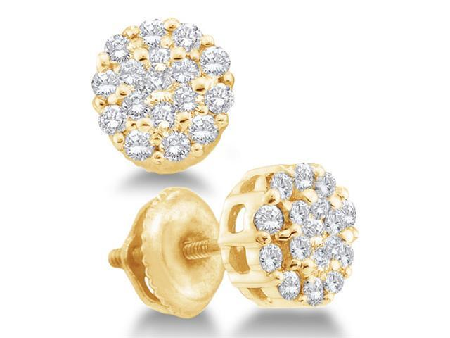 14K Yellow Gold Channel Invisible Set Round Diamond Flower Stud Earrings with Screw Back Closure - (1/2 cttw, G - H Color, SI2 Clarity)