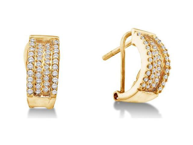 14K Yellow Gold Pave Set Round Diamond Hoop Earrings  - (1/2 cttw, G - H Color, SI2 Clarity)