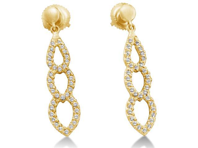 14K Yellow Gold Micro Pave Set Round Diamond Pear Shape Dangle Earrings with Screw Back Closure - (2/5 cttw, G - H Color, SI2 Clarity)