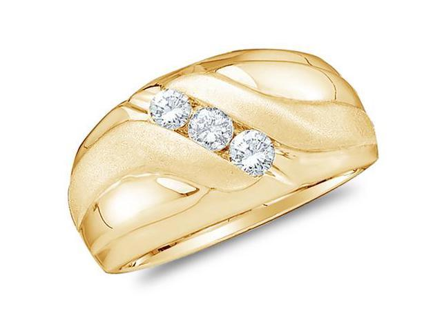 14K Yellow Gold Diamond MENS Wedding Band OR Fashion Ring - 3 Three Stone Center Setting Shape w/ Pave Channel Set Round Diamonds - (12mm Band Width) - (.48 cttw, G - H Color, SI2 Clarity)