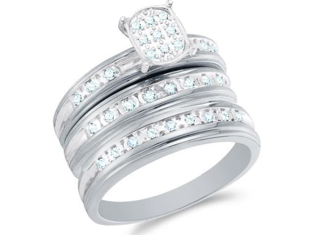 10k White Gold Diamond His & Hers Trio 3 Ring Set - Round Shape Center Setting w/ Micro Pave Set Round Diamonds - (.30 cttw, G-H, SI2) - SEE