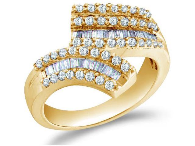14K Yellow Gold Diamond Cross Over Wedding , Anniversary OR Fashion Right Hand Ring Band - w/ Channel Invisible Set Round & Baguette Diamonds - (.86 cttw, G - H Color, SI2 Clarity)
