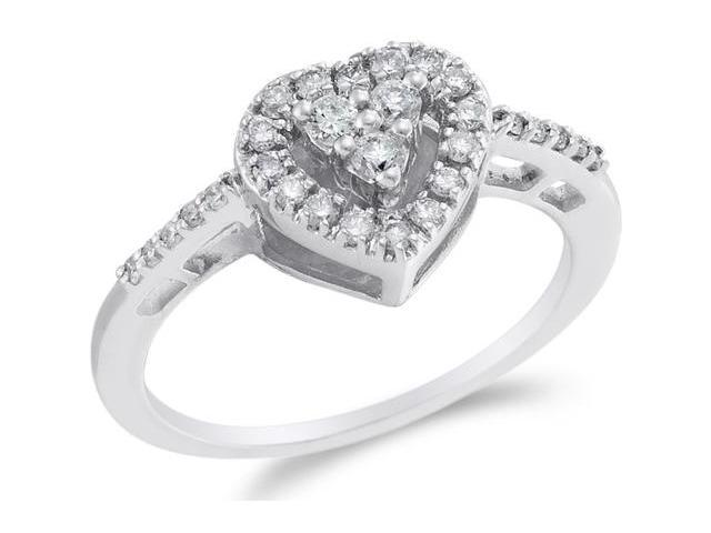 14K White Gold Diamond Halo Engagement Ring - Heart Shape Center Setting w/ Channel Set Round Diamonds - (1/3 cttw, G - H Color, SI2 Clarity)