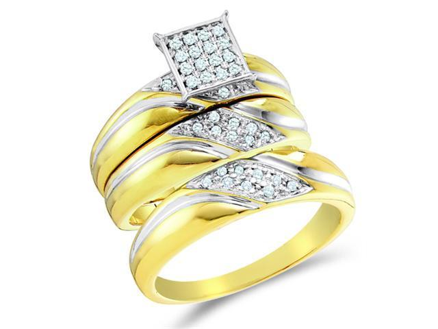 10K Two Tone Gold Diamond Trio 3 Ring His & Hers Set - Square Princess Shape Center Setting w/ Micro Pave Set Round Diamonds - (.29 cttw, G-H, SI2) - SEE