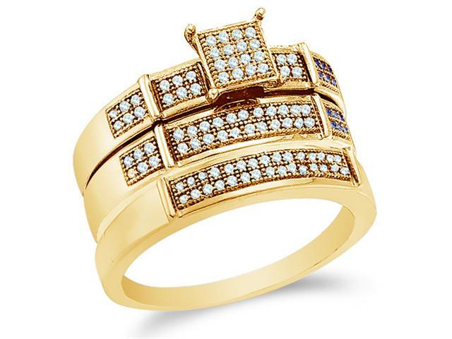10K Yellow Gold Diamond Trio 3 Ring His & Hers Set - Square Princess Shape Center Setting w/ Micro Pave Set Round Diamonds - (.30 cttw, G-H, SI2) - SEE