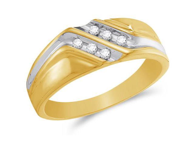 10K Yellow and White Two Tone Gold Diamond MENS Wedding Band OR Fashion Ring - w/ Channel Set Round Diamonds - (1/8 cttw, G - H Color, SI2 Clarity)