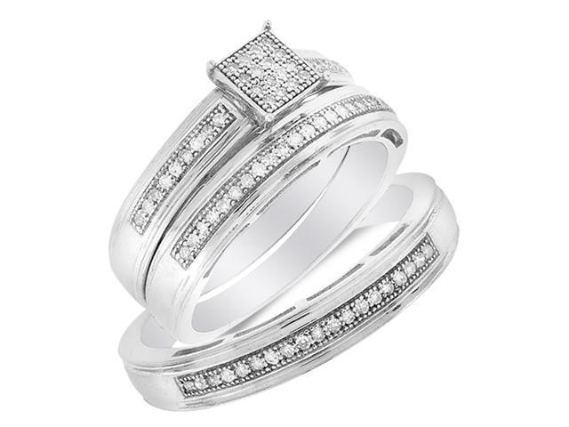 .925 Silver Plated in White Gold Diamond His & Hers Trio Set - Square Shape Center Setting w/ Micro Pave Set Round Diamonds - (1/4 cttw, G-H, SI2) - SEE