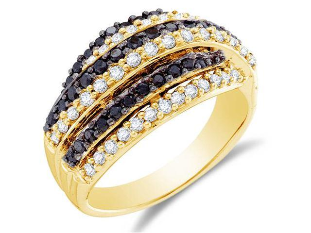 14K Yellow Gold White and Blue Diamond Wedding , Anniversary OR Fashion Right Hand Ring Band - w/ Channel Set Round Diamonds - (.99 cttw, G - H Color, SI2 Clarity)