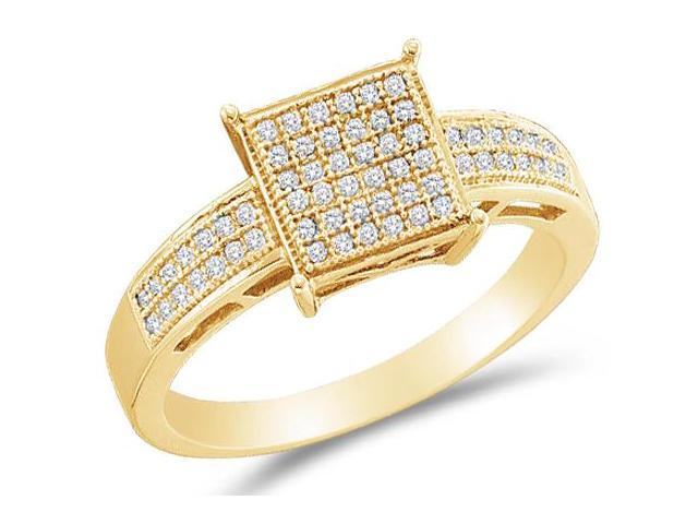 10K Yellow Gold Diamond Engagement OR Fashion Right Hand Ring Band - Square Princess Shape Center Setting w/ Micro Pave Set Round Diamonds - (.18 cttw, G - H Color, SI2 Clarity)