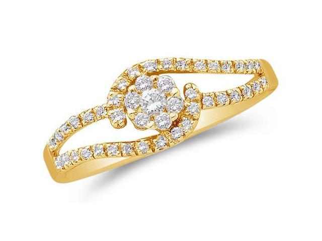 14K Yellow Gold Diamond Cross Over Engagement Ring OR Promise Anniversary Wedding Band - Flower Shape Center Setting w/ Invisible Channel Set Round Diamonds - (1/4 cttw, G-H, SI2)
