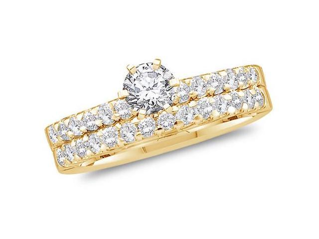 14K Yellow Gold Large Diamond Classic Traditional Engagement Ring with Matching Wedding Band Two 2 Ring Set - Solitaire Setting w/ Channel Set Round Diamonds (1.00 cttw, 2/5 ct Center, G-H, SI2)