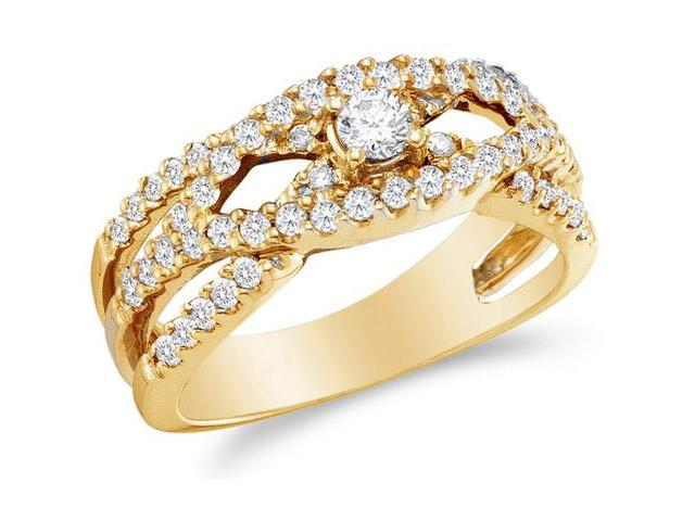 14K Yellow Gold Diamond Cross Over Engagement OR Fashion Right Hand Ring Band - Solitaire Setting w/ Channel Set Round Diamonds - (3/4 cttw, G - H Color, SI2 Clarity)