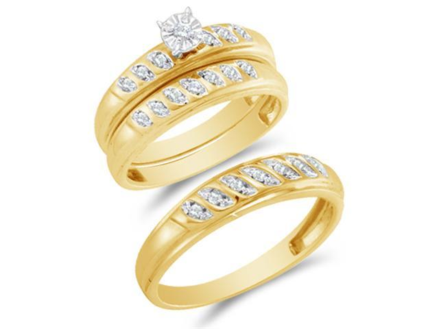 10K Yellow and White Two Tone Gold Diamond Trio 3 Ring His & Hers Set - Solitaire Setting w/ Pave Set Round Diamonds - (1/4 cttw, G-H, SI2) - SEE