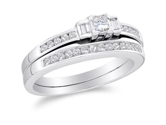 10K White Gold Diamond Classic Traditional Engagement Ring with Matching Band 2 Ring Set - Bezel Solitaire Setting w/ Channel Invisible Set Princess, Baguette, & Round Diamonds - (.45 cttw, G-H, SI2)