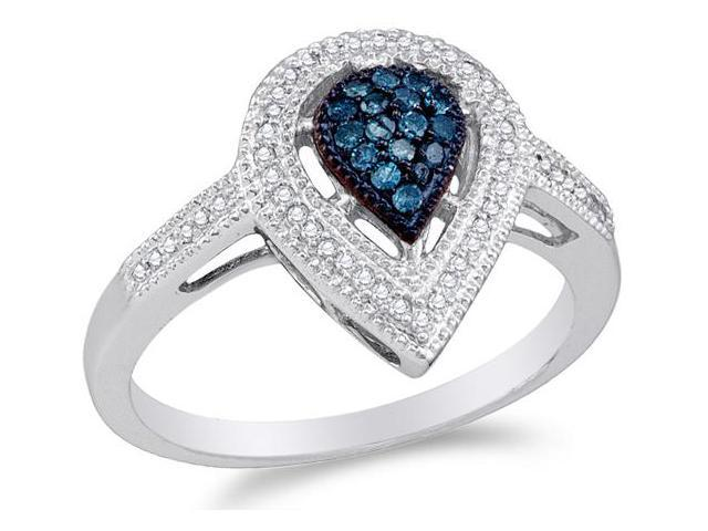 10K White Gold White and Blue Diamond Engagement OR Fashion Right Hand Ring Band - Pear Shape Center Setting w/ Invisible Channel Set Round Diamonds - (1/4 cttw, G - H Color, SI2 Clarity)