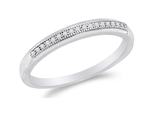 10K White Gold Diamond Wedding Band Ring - w/ Micro Pave Set Round Diamonds - (1/20 cttw, G - H Color, SI2 Clarity)