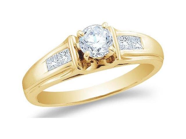 14K Yellow Gold Diamond Classic Traditional Engagement Ring - Solitaire Setting w/ Channel Set Round & Princess Cut Diamonds (2/3 cttw, 2/5 ct Center, G - H Color, SI2 Clarity)