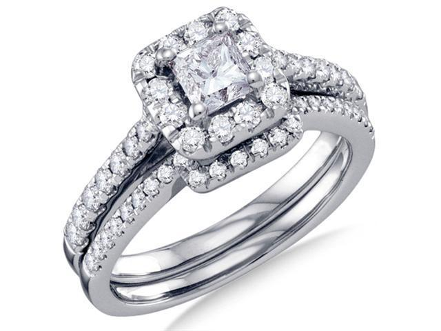 14K White Gold Large Diamond Halo Engagement Ring with Matching Curved Wedding Band 2 Ring Set - Solitaire Setting w/ Channel Set Princess Cut & Round Diamonds (1.00 cttw, .43 ct Center, G-H, SI2)