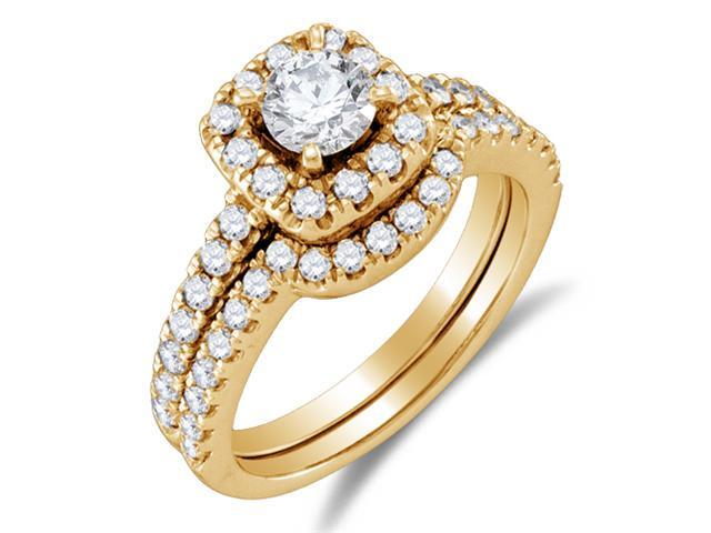 14K Yellow Gold Large Diamond Halo Engagement Ring with Matching Curved Notched Wedding Band Two 2 Ring Set - Solitaire Setting w/ Channel Set Round Diamonds (1.36 cttw, 1/2 ct Center, G-H, SI2)