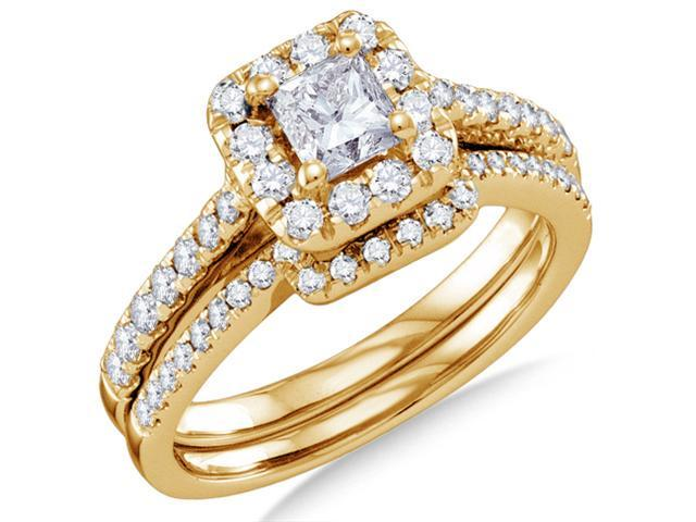 14K Yellow Gold Large Diamond Halo Engagement Ring with Matching Curved Wedding Band 2 Ring Set - Solitaire Setting w/ Channel Set Princess Cut & Round Diamonds (1.00 cttw, .43 ct Center, G-H, SI2)