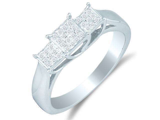 10K White Gold Diamond Engagement Ring - Square Princess Shape Center Setting w/ pave channel set Round Diamonds - (1/8 cttw, G - H Color, SI2 Clarity)