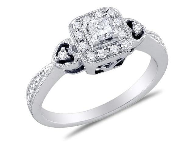 14K White Gold Diamond Heart Halo Style Engagement Ring - Solitaire Setting w/ Channel Set Princess Cut & Round Diamonds (1/3 cttw, 1/5 ct Center, G - H Color, SI2 Clarity)