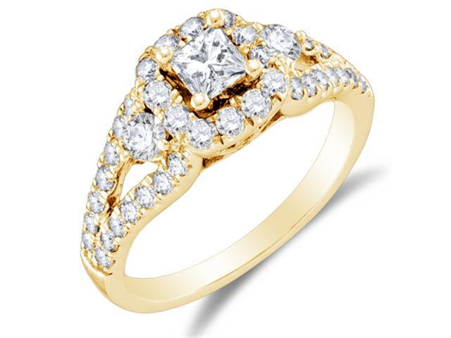 14K Yellow Gold Large Diamond Halo Engagement Ring - 3 Three Stone Center Setting Shape w/ Channel Set Princess Cut & Round Diamonds (1.25 cttw, 2/5 ct Center, G - H Color, SI2 Clarity)
