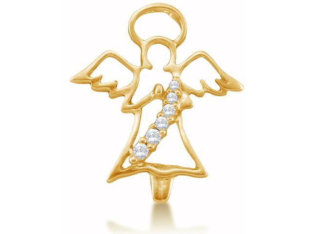 10K Yellow Gold Journey Angel Channel Set Round Diamond Pendant - (1/20 cttw, G - H Color, SI2 Clarity)