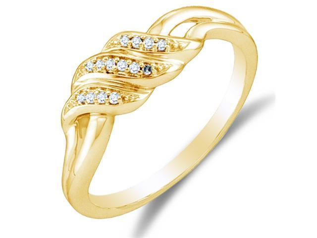10K Yellow Gold Diamond Wedding , Anniversary OR Fashion Right Hand Ring Band - w/ Channel Set Round Diamonds - (.04 cttw, G - H Color, SI2 Clarity)