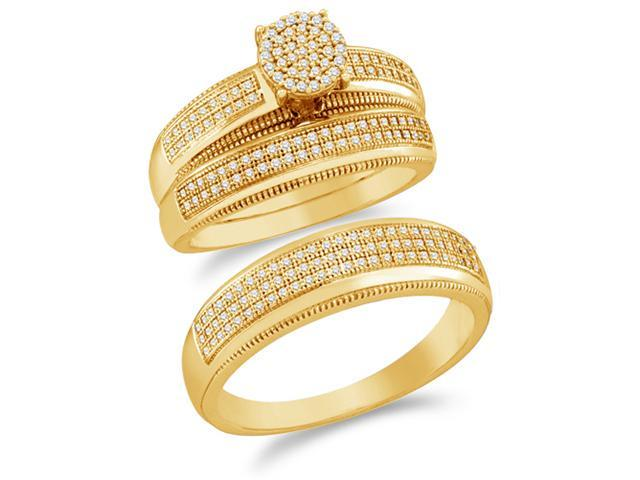 10K Yellow Gold Diamond Trio 3 Ring His & Hers Set - Flower Shape Center Setting w/ Invisible Channel Set Round Diamonds - (1/2 cttw, G-H, SI2) - SEE